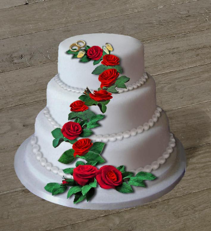 ... zur Anzeige GRATIS Rezept für eine dreistöckige Hochzeitstorte