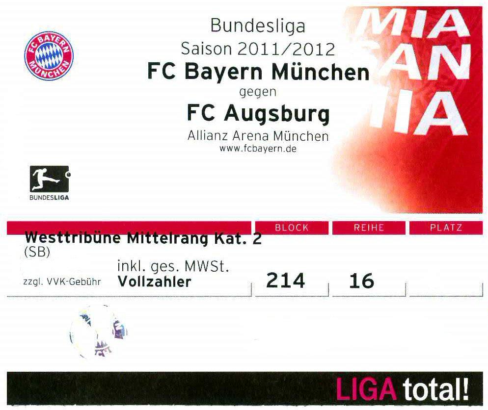 Bayern Ticket Augsburg