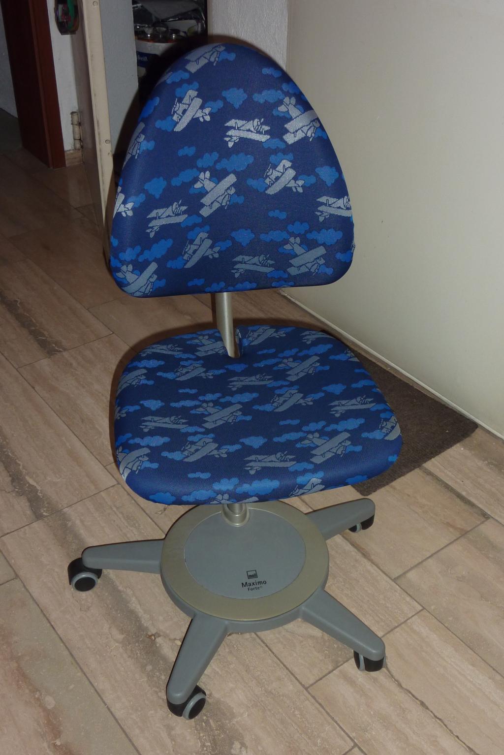 Moll Schreibtischstuhl Drehstuhl Maximo Forte Metallic Bezug Pilot Blau Mit Silbernen Flugzeugen