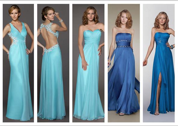 Elegante Lange Blaue Abendkleider