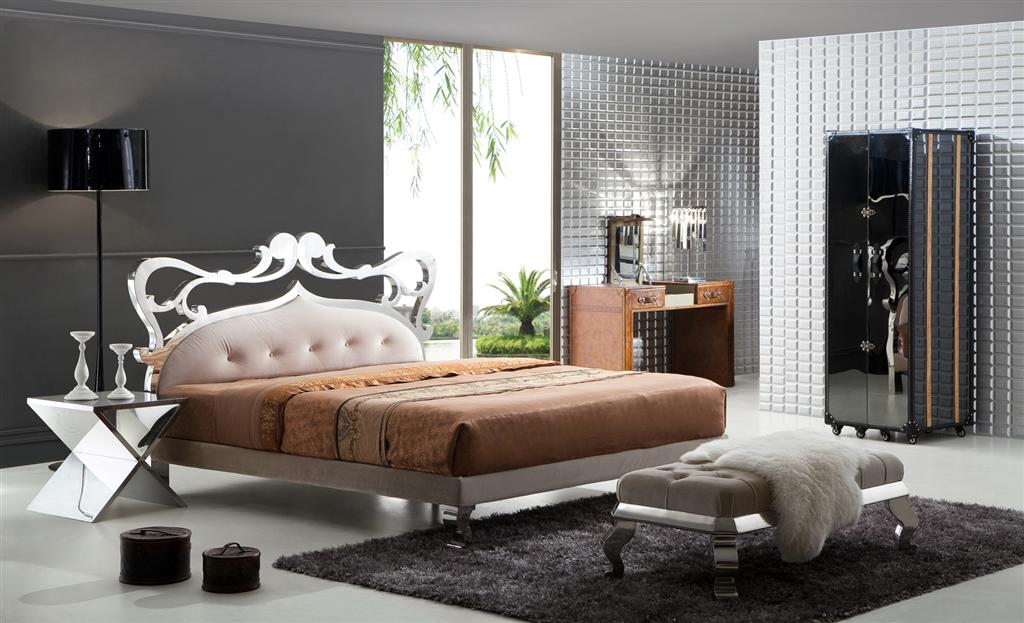 ausgefallenes stilvolles italien design bett athena aus holz edelstahl. Black Bedroom Furniture Sets. Home Design Ideas