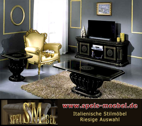 luxus m bel esszimmer wohnzimmer rossella schwarz gold hochglanz italienische klassische stilm bel. Black Bedroom Furniture Sets. Home Design Ideas