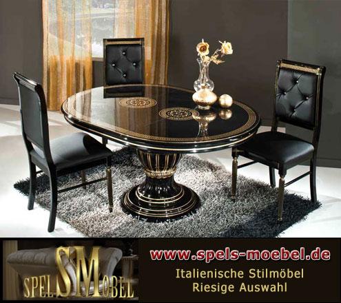 Luxus Möbel Esszimmer Wohnzimmer Rossella Schwarz Gold Hochglanz  Italienische Klassische Stilmöbel