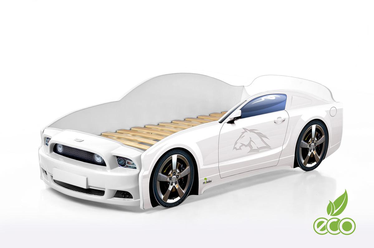 Kinderbett Babybett Jugendbett Autobett Bett 5 FARBEN Mustang PLUS FULL 184,5//74 cm schwarz Matratze und Rahmen